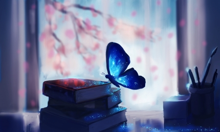 Blue Butterfly - pencils, stars, table, colorful, window, books, glitter, flower tree, butterfly, bright, paint brush