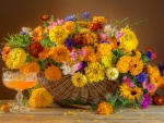Basket with fresh flowers