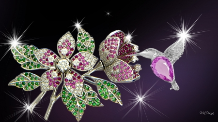 Jewels of Nature - sparkle, stars, jewels, flowers, shine, gems, hummingbird