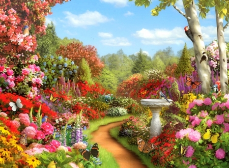Butterfly Garden , Flowers \u0026 Nature Background Wallpapers on