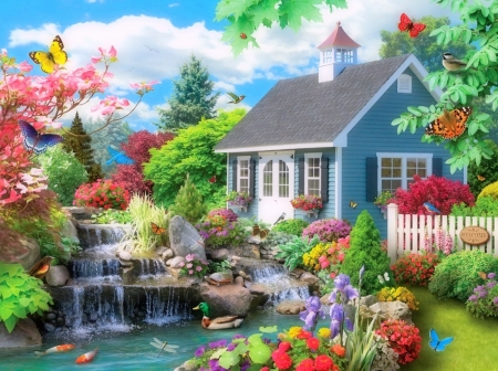Houses in Dreams - houses, colors, love four seasons, butterflies, spring, attractions in dreams, pond, flowers, garden, butterfly designs, falls