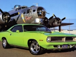 1970 Cuda 440 and a B17 Flying Fortress
