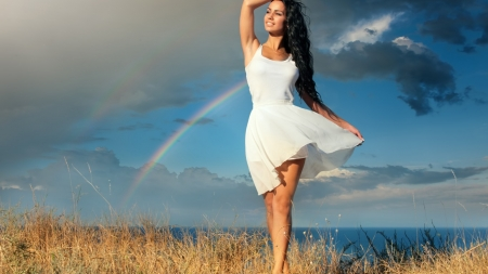 Which is very beautiful? Rainbow or Brunette - Rainbow, Pretty, armpit, Beautiful, White, Female, pretty girl, Model, Smile, clouds, Face, sea, hair, Beauti, Girl, Woman, Thigh, Sexy, Lovely, Attractive, Charming, lips, Lady, Brunette