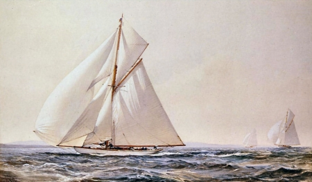 Yatching Competition F1 - art, race, yacht, sailing, beautiful, Montague Dawson, Dawson, artwork, competition, painting, wide screen, seascape, scenery, sailboat