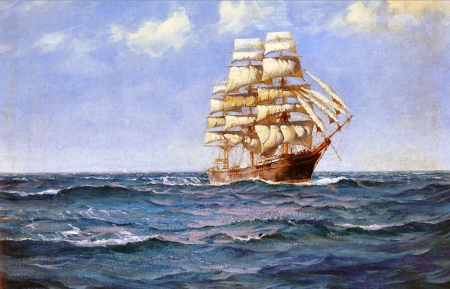 Rollicking Days 2 - art, tall ship, sailing, beautiful, Montague Dawson, Dawson, artwork, painting, wide screen, seascape, scenery, sailboat