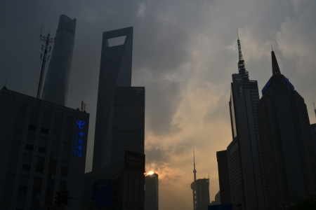 Sunset in Shanghai - tall buildings, sun, skyline, city, shanghai, sunset, china, building