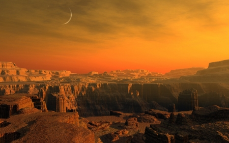 graceful canyons - canyon, moon, aky, sunset