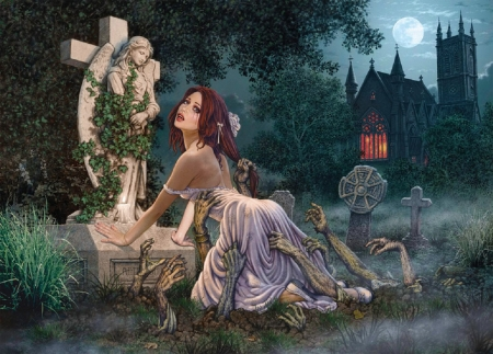 Halloween's Night - pretty, art, female, tombe, halloween, beautiful, woman, grave, zombies, fantasy, nice, girl, digital