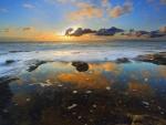 Golden Clouds Over the Ocean