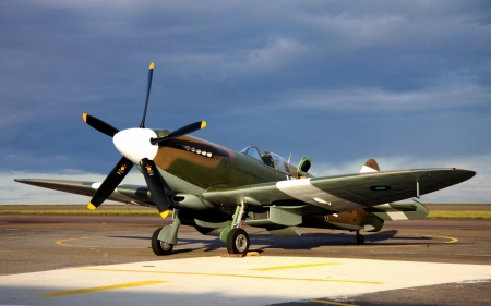 vintage spitfire on the tarmac - plane, tarmac, military, prop, vintage