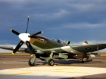 vintage spitfire on the tarmac