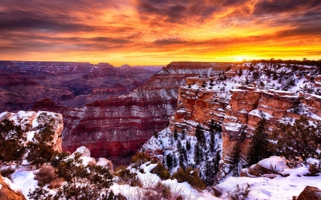 snow draping the grand canyon hdr - snow, winter, cliffs, canyon, sunrise, hdr