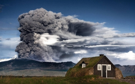 volcano erupting above a rural cabin - cabin, volcano, ash, eruption, smoke, mountain