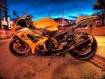 a suzuki gsx-r bike on the street hdr