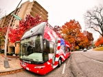 american bus in fisheye