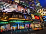 an electric night in times square hdr