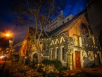 crumbling church in new zealand hdr