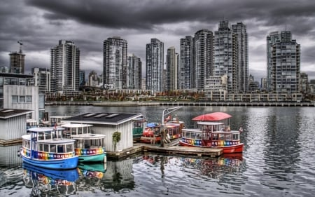 aquabus in vancouver harbor hdr - city, boats, taxi, hdr, docks, harbor