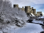 medieval castle in winter