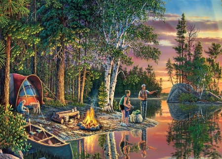 Catching Memories F1mp - forest, art, woods, beautiful, lake, artwork, painting, wide screen, scenery, landscape, fishing
