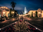 night on balboa park in san diego hdr