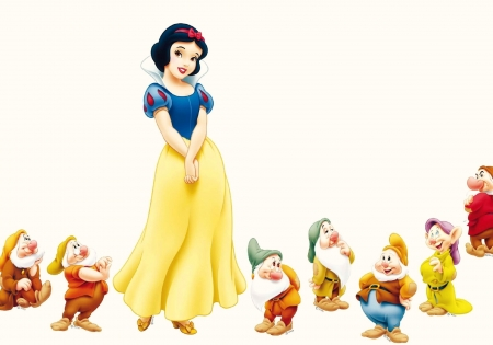 Snow white and the Seven Dwarfs - red, movie, snow white, yellow, cute, fantasy, girl, seven, white, princess, dwarf, disney, blue