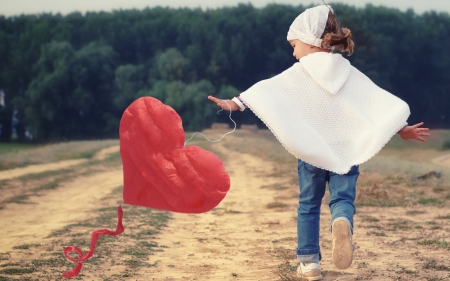 Little girl and heart kite - red, rosu, fetita, valentine, zmeu, cute, kite, girl, heart, copil, child, white, field, blue