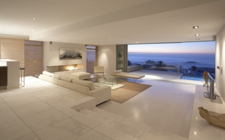 modern living room with ocean view - modern & architecture
