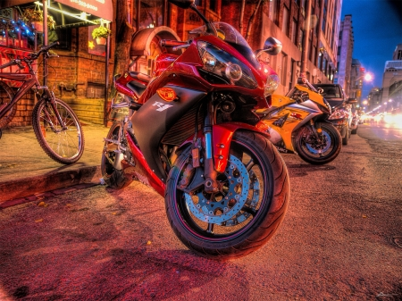 a yamaha motorcycle parked on the street hdr
