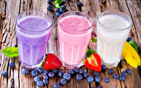 *Smoothies* - strawberry, blueberries, sweet, fruit, smoothies, yummy, blueberry, shakes, banana, juice, food, drinks, bananas, fruity, energy, berries, healthy, tasty, summer