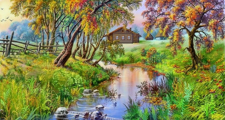 Autumn Rural - rural, fall season, cottages, autumn, love four seasons, attractions in dreams, paintings, landscapes, nature, fields, streams