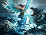The blue angel and the water dragons