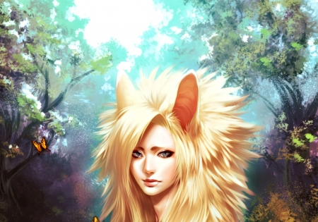 Fantasy girl - forest, art, woods, ears, blonde, woman, cody, animal, fantasy, butterfly, toru-meow, girl, fox, beauty, blue
