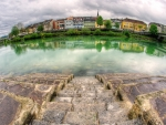 riverside town in fisheye hdr