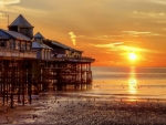 giant pier in blackpool england at sunset hdr