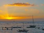 boats at a beautiful sunset