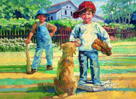 Play Catch F - little boy, art, beautiful, artwork, canine, animal, pet, painting, wide screen, baseball, dog