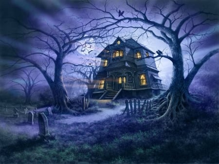 Haunted House - house, halloween, Spooky, Dark, fantasy, moon, scary, Bats, graveyard