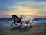 Horses Running at Beach Sunset