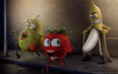Fruity Flasher ( High Resolution ) - pear, banana, strawberry, fruits