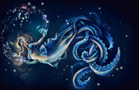 Fantasy girl - underwater, art, octopus, luminos, black, woman, sea, fantasy, girl, creature, blue
