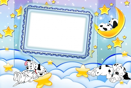 1001 Dalmatians - movie, frame, yellow, card, animal, fantasy, moon, 1001 dalmatians, star, disney, dog, puppy, blue, cloud, luna, good night, cute, white
