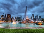 buckingham fountain in chicago hdr