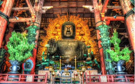 massive buddha in todaji temple in japan hdr - large, shrine, buddha, temple, hdr