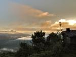 mountain cabin at sunrise