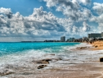 beautiful beach in cancun mexico hdr