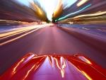 car in motion inlong exposure