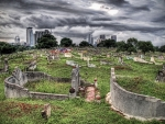 hilltop cemetery after a storm hdr