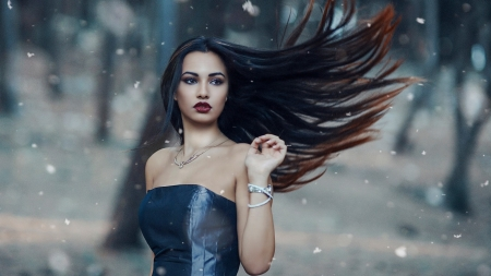 Winter Time - hair, girl, snow, wind, makeup, beauty