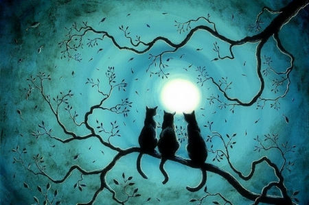 Halloween Full Moon - moons, draw and paint, love four seasons, halloween cats, trees, paintings, moonlight, cats, night